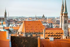 Ciudad vieja en la ciudad de Nurnberg, Alemania fotografía de archivo libre de regalías