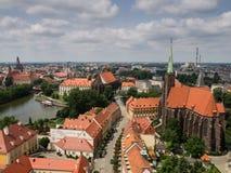 Ciudad vieja en la isla de la catedral en el Wroclaw, Polonia Fotografía de archivo libre de regalías
