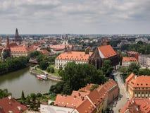 Ciudad vieja en la isla de la catedral en el Wroclaw, Polonia Imágenes de archivo libres de regalías