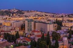 Ciudad vieja en la noche, Israel de Jerusalén Imagen de archivo libre de regalías