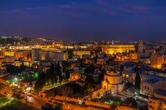 Ciudad vieja en la noche, Israel de Jerusalén Fotos de archivo libres de regalías