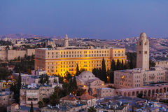Ciudad vieja en la noche, Israel de Jerusalén Imagen de archivo