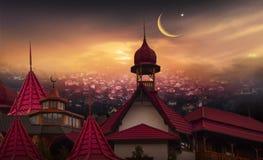 Ciudad vieja en la puesta del sol Banderas abstractas musulmanes del saludo Fotografía de archivo