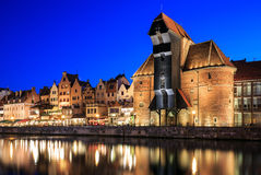 Ciudad vieja en Motlawa en Gdansk Fotos de archivo