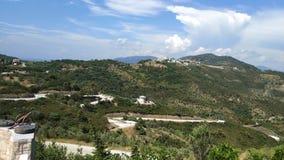 Ciudad vieja encima de la colina, islas de Grecia imagenes de archivo