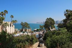 Ciudad vieja hermosa, opinión del mar en Jaffa, Tel Aviv, Israel fotografía de archivo