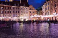 Ciudad vieja Market Place en la noche en Varsovia Foto de archivo libre de regalías