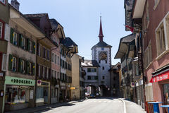 Ciudad vieja Mellingen en Suiza fotos de archivo
