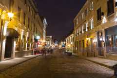 Ciudad vieja Montreal en la noche Imágenes de archivo libres de regalías