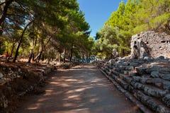 Ciudad vieja Phaselis en Antalya, Turquía Imagen de archivo libre de regalías