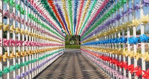 Ciudad vieja preparada para el festival del carnaval Banderas coloridas de la decoración festiva para el partido o la boda al air almacen de video