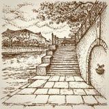 Ciudad vieja Quay Paisaje del vector Foto de archivo libre de regalías