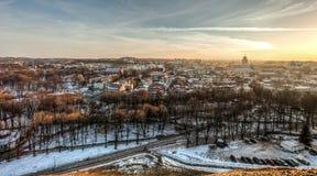 Ciudad vieja Vilna Lituania del invierno Imagen de archivo