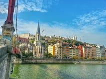 Ciudad vieja y el río saone de Lyon Imagen de archivo