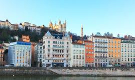 Ciudad vieja y la colina del fourviere, Lyon, Francia de Lyon Imágenes de archivo libres de regalías