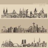 Ciudad vintage de Praga determinada, Toronto, Seattle grabado stock de ilustración