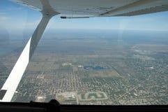 Ciudad vista de los aviones Fotografía de archivo