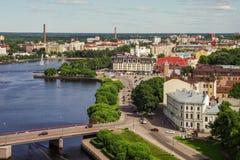 Ciudad Vyborg Quitado de la torre de la ciudad imagen de archivo
