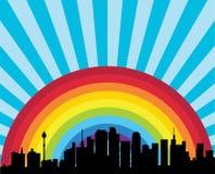 Ciudad y arco iris stock de ilustración