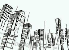Ciudad y bóveda y gráfico y configuración Imagen de archivo