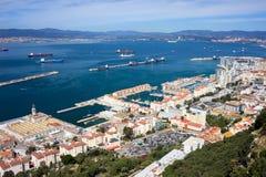 Ciudad y bahía de Gibraltar Fotografía de archivo libre de regalías