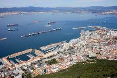 Ciudad y bahía de Gibraltar Foto de archivo