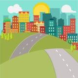 Ciudad y camino planos Fotografía de archivo
