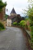 Ciudad y capilla francesas medievales Foto de archivo