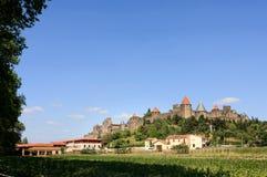 Ciudad y castillo de Carcasona fotografía de archivo