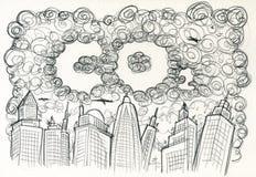 Ciudad y contaminación del CO2 Foto de archivo libre de regalías