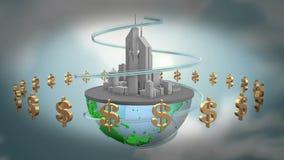 Ciudad y dinero ilustración del vector
