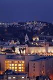 Ciudad y el monte de los Olivos viejos de Jerusalén en la noche Fotos de archivo libres de regalías