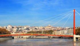 Ciudad y el río Saone, Francia de Lyon Imágenes de archivo libres de regalías