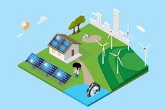 Ciudad y hogar isométricos con los paneles solares, turbina hidráulica ilustración del vector