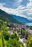 Ciudad y lago Leman de Montreux imagen de archivo libre de regalías