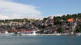 Ciudad y lago Ohrid almacen de metraje de vídeo
