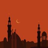 Ciudad y mezquita del este en puesta del sol ramadan imagen Fotos de archivo