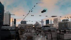 Ciudad y naves futuristas Fotografía de archivo libre de regalías