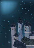 Ciudad y noche del invierno Fotografía de archivo