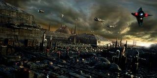 ciudad y paisaje de la Ciencia-ficción Fotos de archivo
