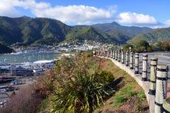 Ciudad y puerto de Picton de la reina Charlotte Drive Fotografía de archivo libre de regalías