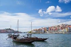 Ciudad y río el Duero de Oporto Fotografía de archivo libre de regalías