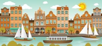 Ciudad y río viejos (ciudad europea) stock de ilustración