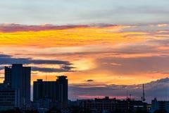Ciudad y sol abajo Fotografía de archivo libre de regalías