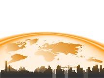 Ciudad y tierra ilustración del vector