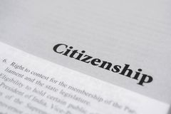 Ciudadanía impresa en el libro con las letras grandes fotos de archivo libres de regalías