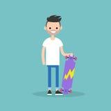 Ciudadano barbudo joven que lleva a cabo a su tablero largo libre illustration