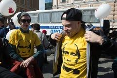 Ciudadanos en la demostración política del primero de mayo Fotos de archivo