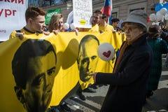 Ciudadanos en la demostración política del primero de mayo Foto de archivo libre de regalías