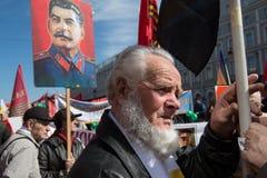 Ciudadanos en la demostración política del primero de mayo Fotos de archivo libres de regalías